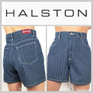 Vintage Halston Jeanwear conductor striped shorts